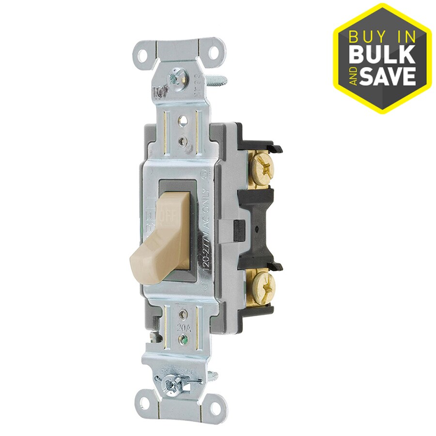 Hubbell 1-Switch 15/20-Amp Single Pole Almond Indoor Toggle Light Switch