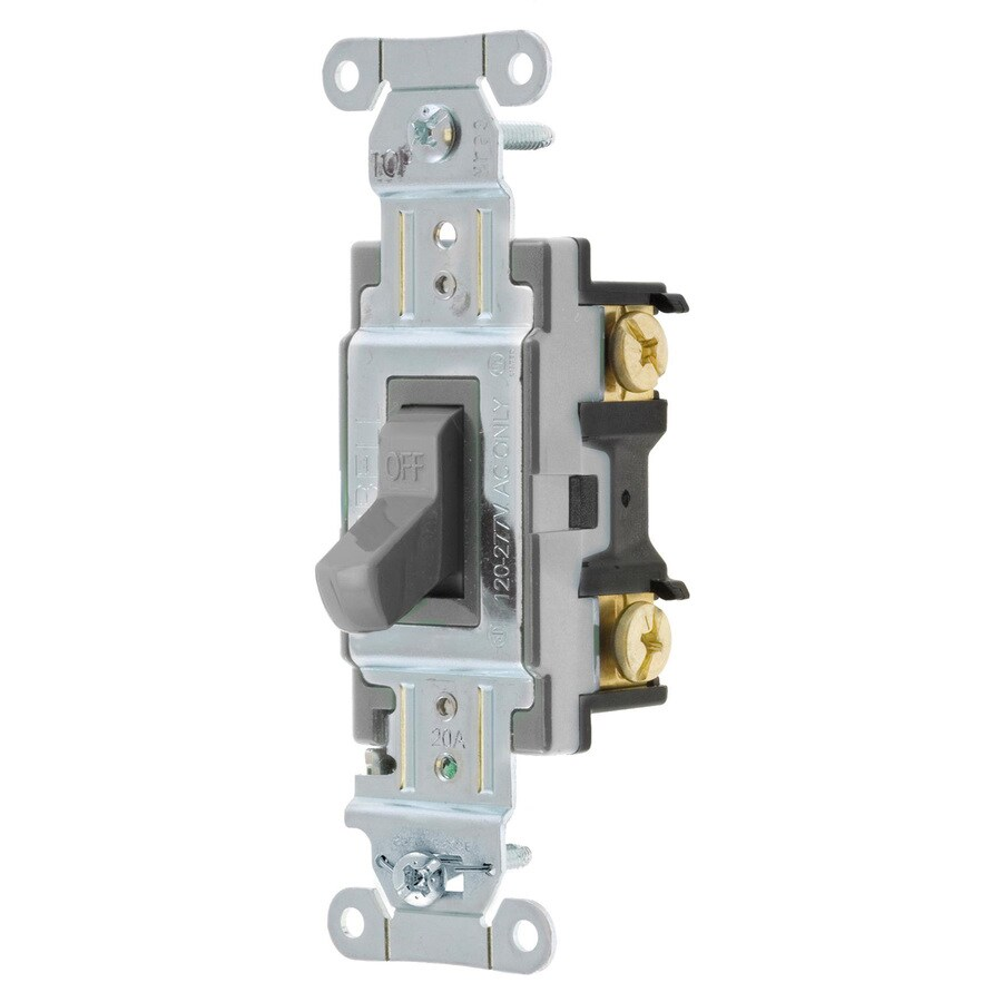 Hubbell 15/20-Amp Single Pole Gray Indoor Toggle Light Switch