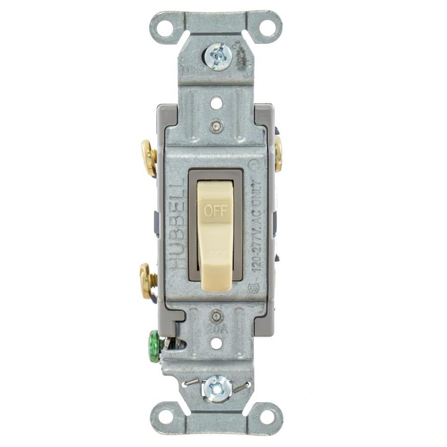 Hubbell 15/20-Amp Double Pole Ivory Indoor Toggle Light Switch