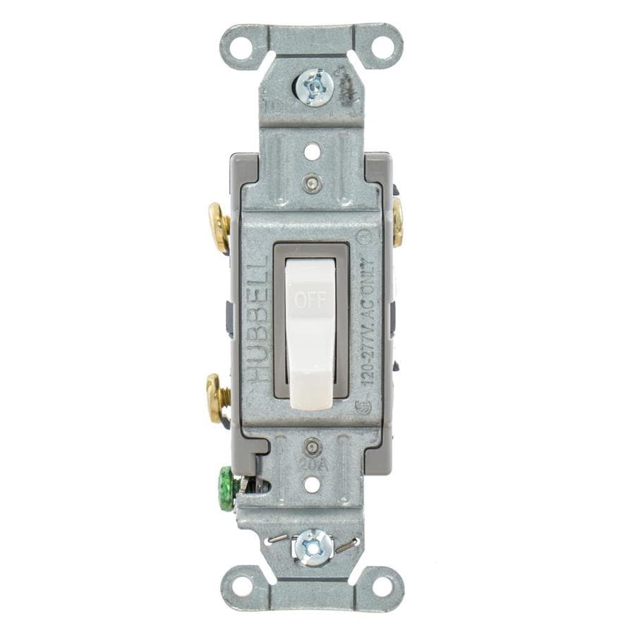 Hubbell 15/20-Amp Double Pole White Indoor Toggle Light Switch