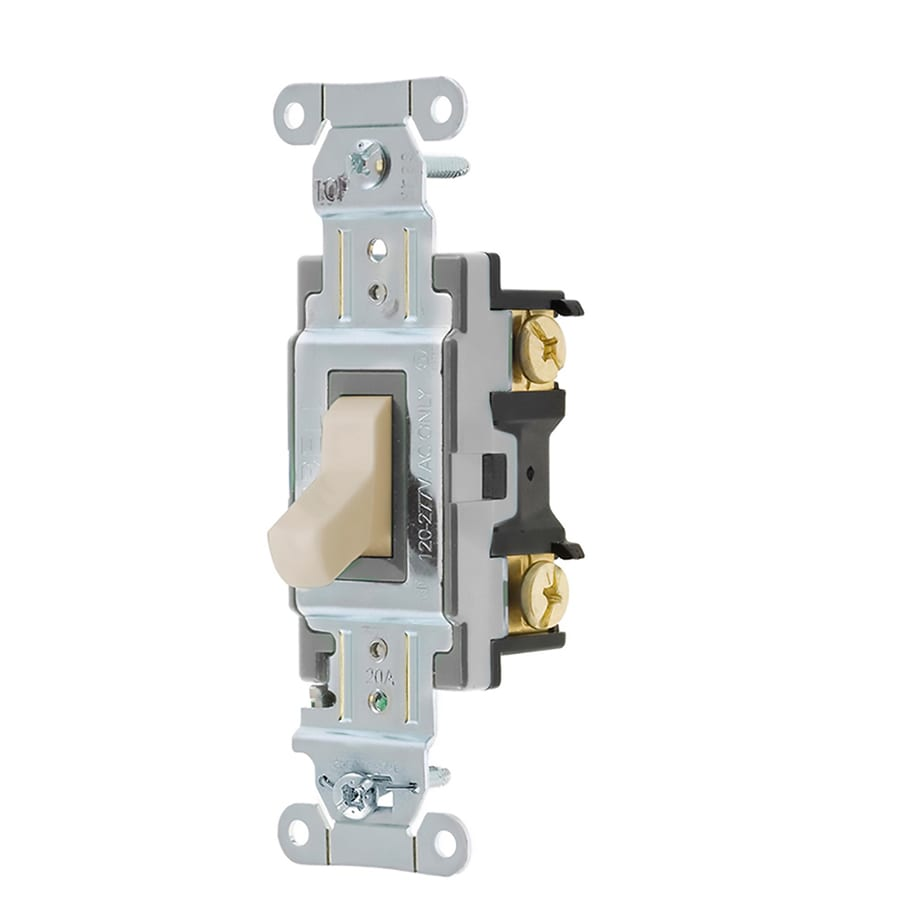 Hubbell 1-Switch 15/20-Amp 3-Way Light Almond Indoor Toggle Light Switch