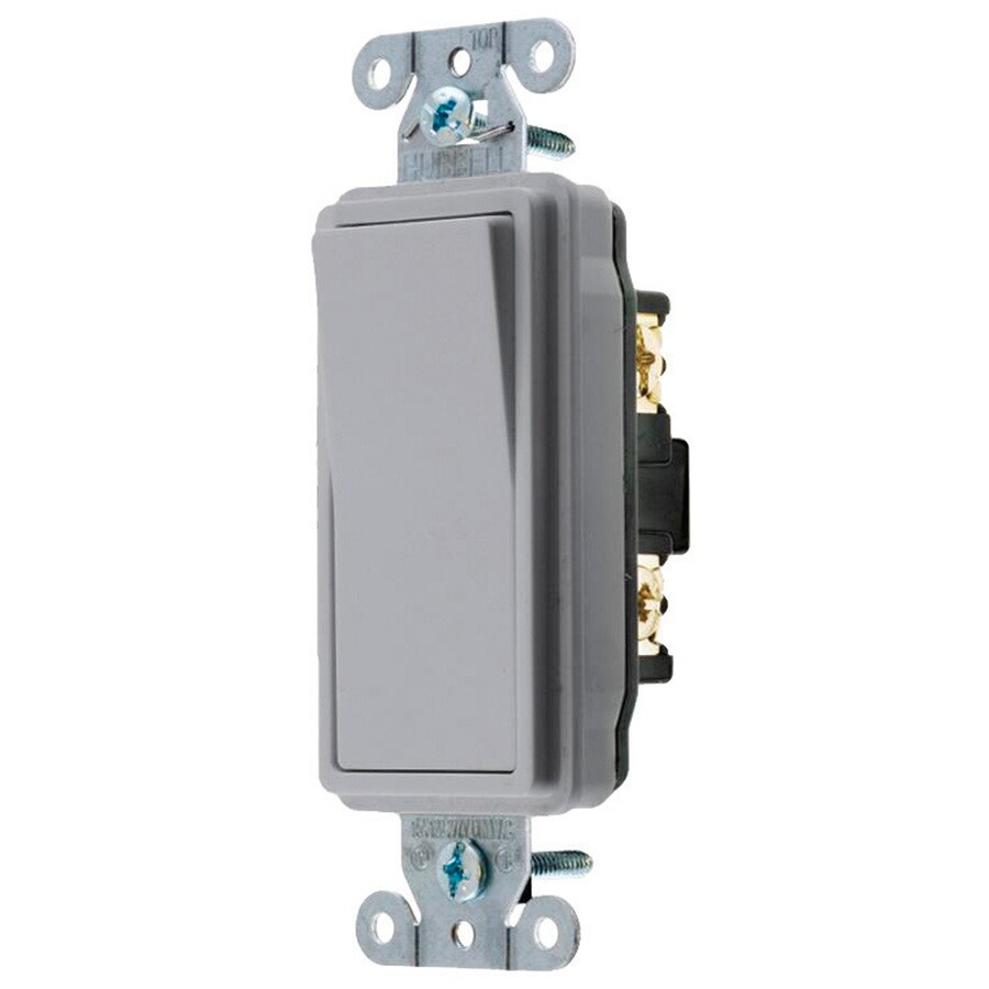 Hubbell 15/20-Amp 3-Way Gray Indoor Rocker Light Switch