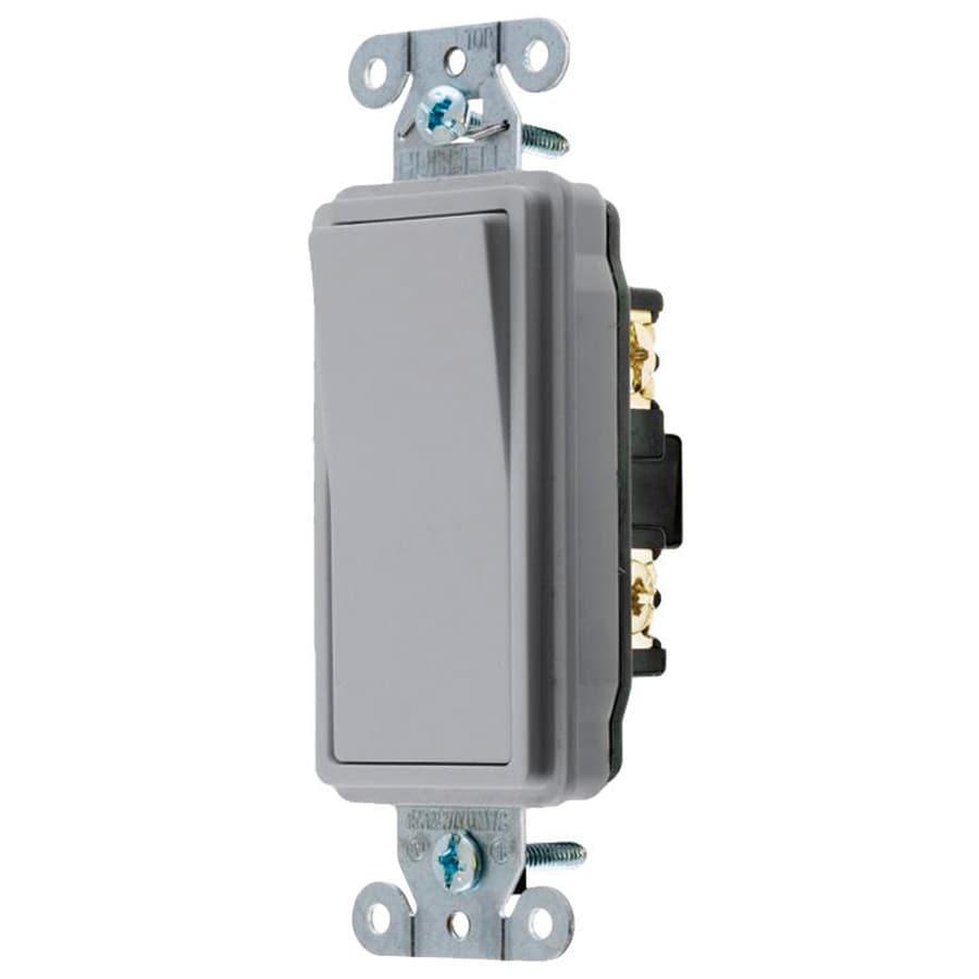 Hubbell 15/20-Amp Single Pole Gray Indoor Rocker Light Switch