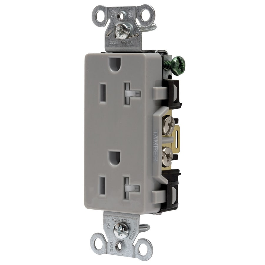 Hubbell 20-Amp 125-Volt Gray Indoor Decorator Wall Tamper Resistant Outlet