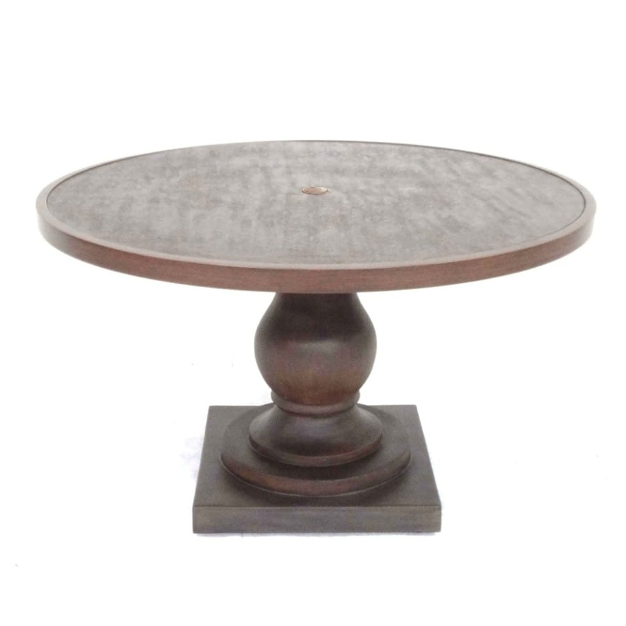 Allen Roth Meridale 47 6 In Steel Top Brown Resin Frame Round Patio