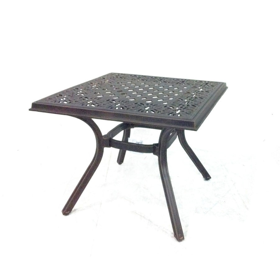 Garden Treasures Potters Glen 22-in x 22-in Black and Gold Extruded Aluminum Square Patio Side Table