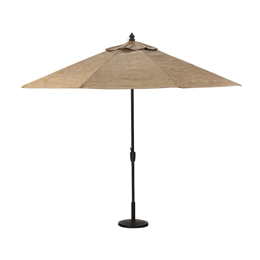 allen + roth 8-ft 10-in Brown Round Market Umbrella