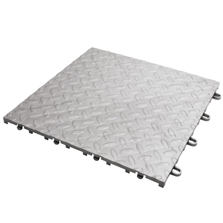 Gladiator 4-Piece 12-in x 12-in Silver Tread Plate Garage Floor Tile