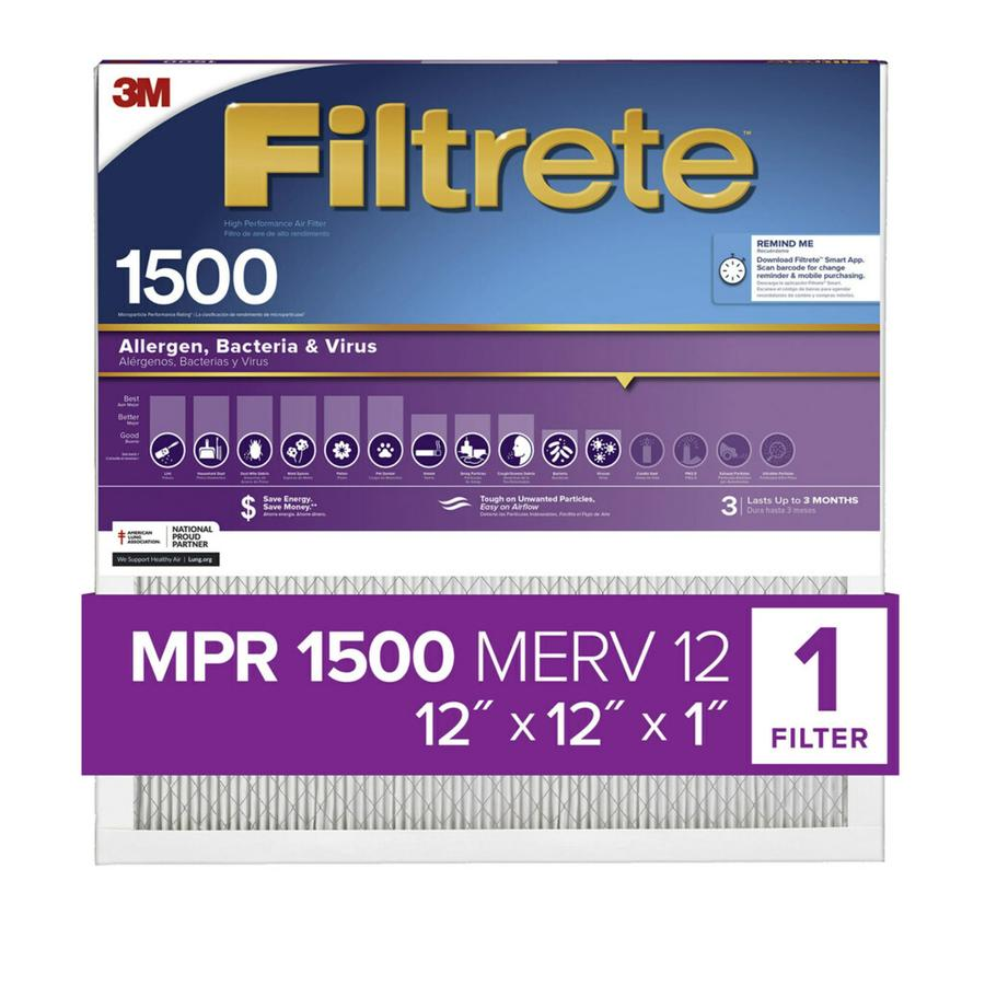 Filtrete (Common: 12-in x 12-in x 1-in; Actual: 11.7-in x 11.7-in x 0.78125-in) Ultra Allergen Reduction Electrostatic Pleated Air Filter