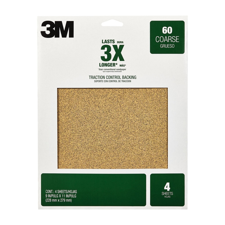 3M 4-Pack 9-in W x 11-in L 60-Grit Commercial Coarse Grit Sandpaper Sheets