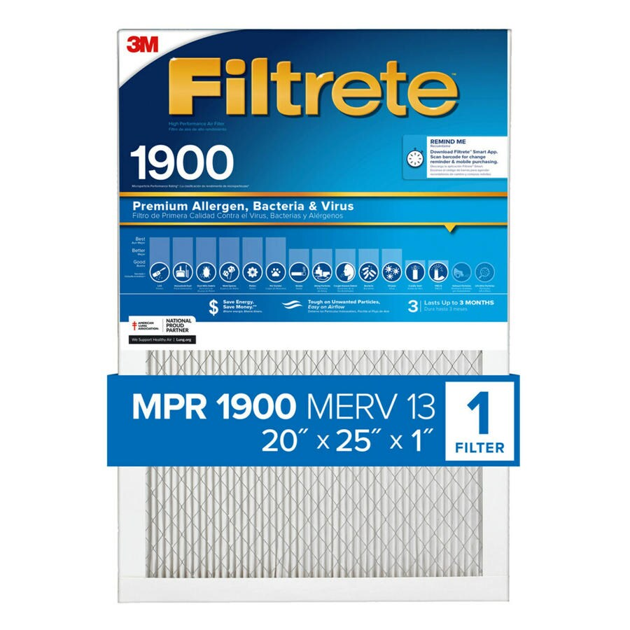 Filtrete (Common: 20-in x 25-in x 1-in; Actual: 19.6-in x 24.7-in x 0.78125-in) Maximum Allergen Reduction Electrostatic Pleated Air Filter