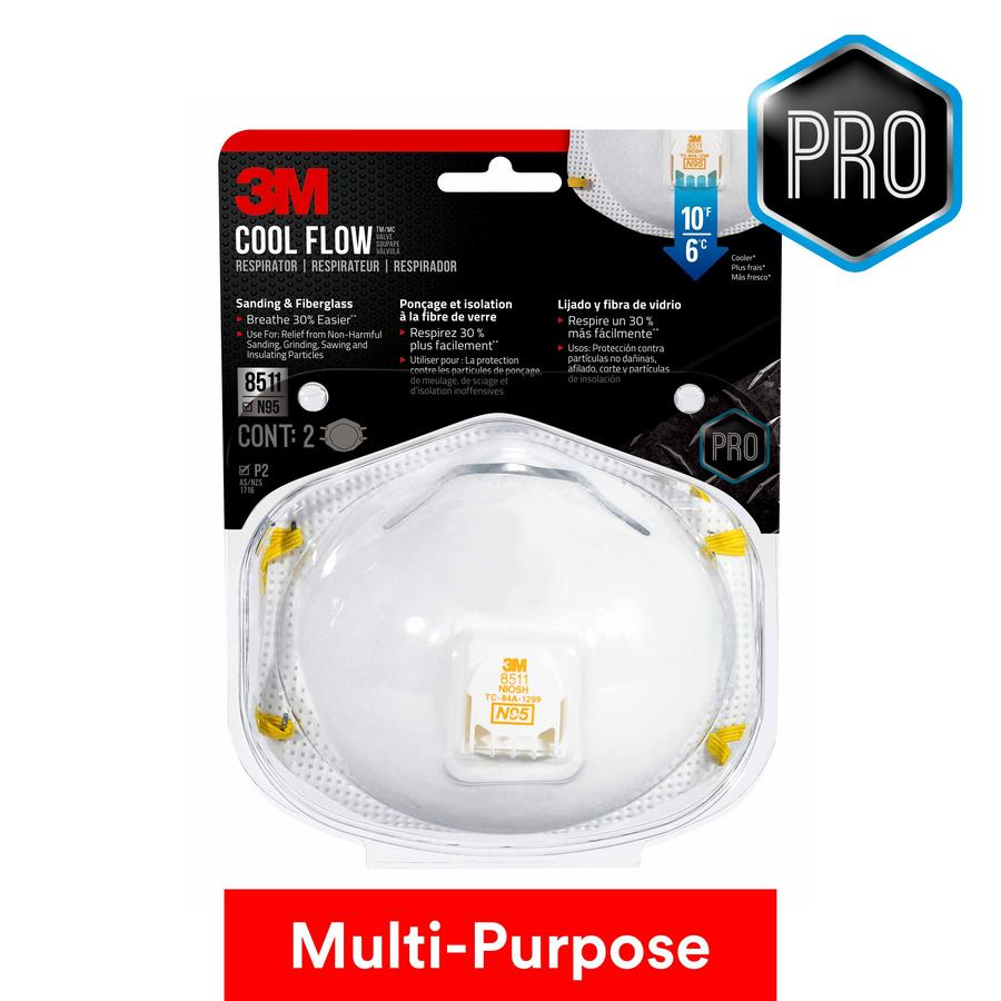 3M 2-Pack Disposable Painting, Sanding and Fiberglass Valved Safety Masks