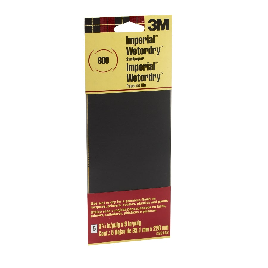 3M 5-Pack 3.67-in W x 9-in L 600-Grit Commercial Wet or Dry Sandpaper