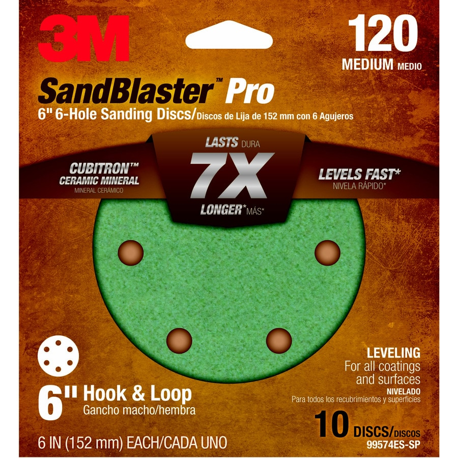 3M 10-Pack 6-in W x 6-in L 120-Grit Commercial Discs Sandpaper
