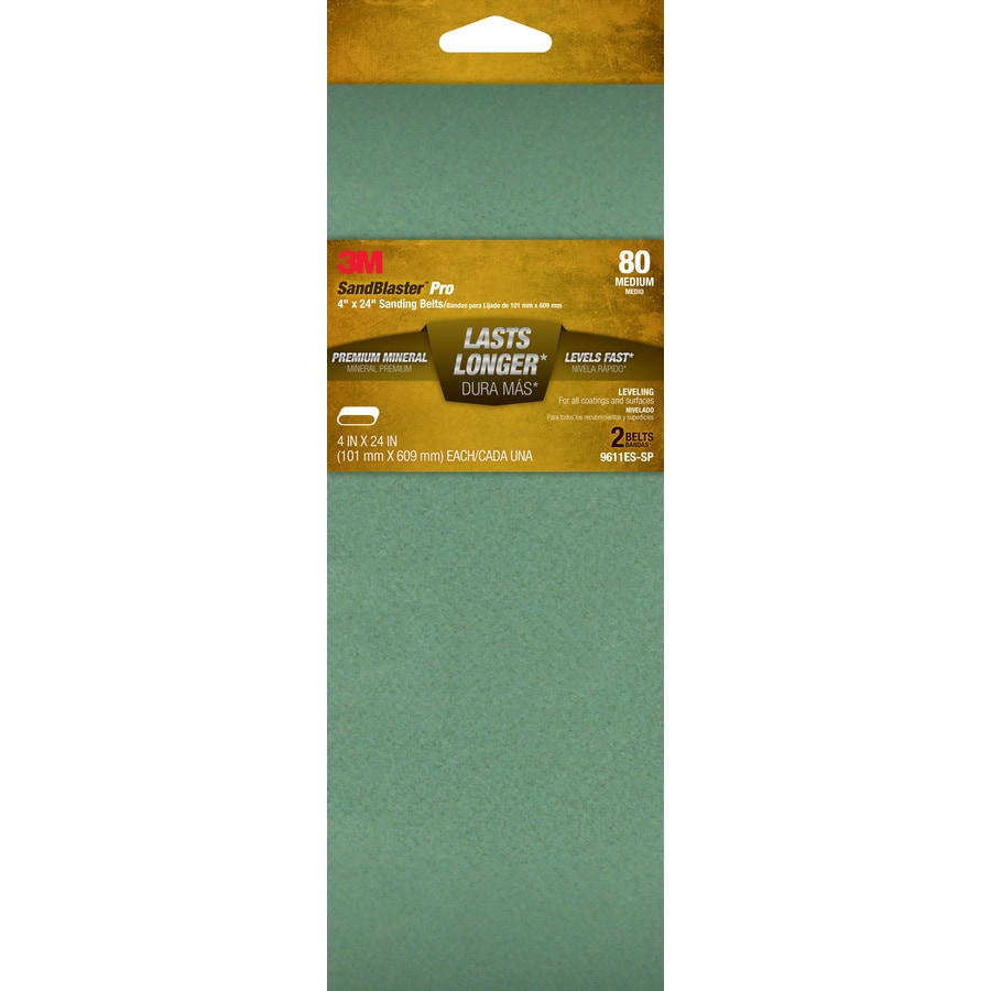 3M 2-Pack 4-in W x 24-in L 80-Grit Commercial Belts Sandpaper