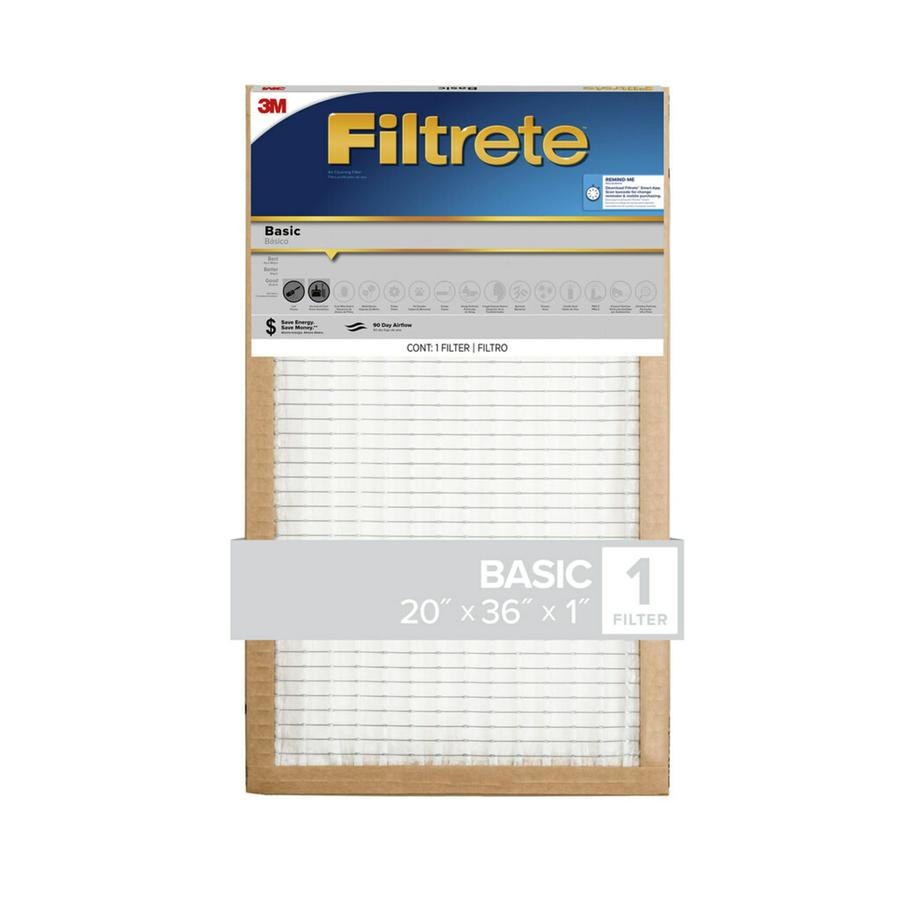 Filtrete (Common: 20-in x 36-in x 1-in; Actual: 19.6-in x 35.7-in x 0.65625-in) Basic Pleated Pleated Air Filter