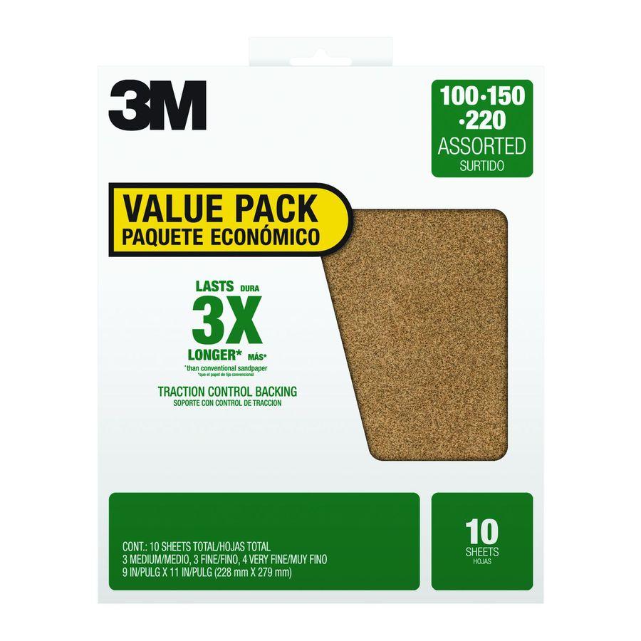 3M 10-Pack 9-in W x 11-in L Multi-Grade Pack Commercial Aluminum Oxide Sandpaper