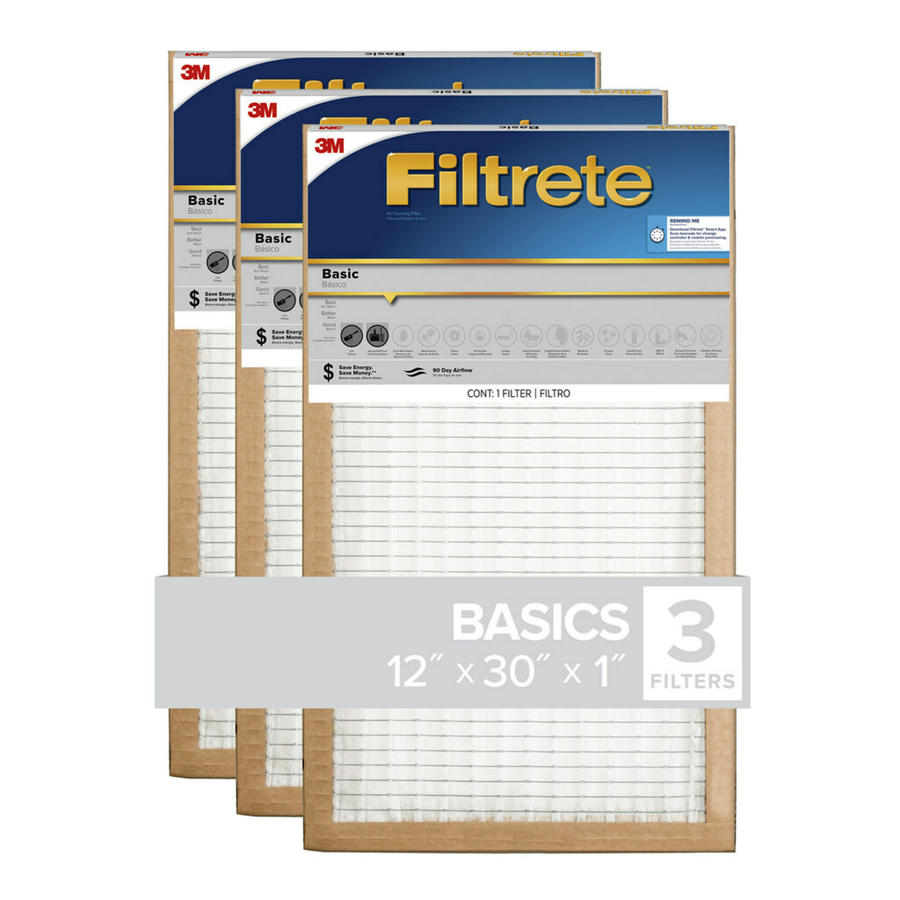 Filtrete (Common: 12-in x 30-in x 1-in; Actual: 11.7-in x 29.7-in x 0.8125-in) 3-Pack Basic Pleated Pleated Air Filters