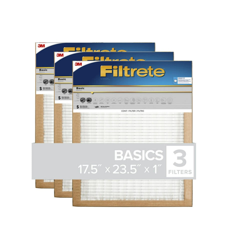 Filtrete (Common: 17.5-in x 23.5-in x 1-in; Actual: 17.1-in x 23.1-in x 0.8125-in) 3-Pack Basic Pleated Pleated Air Filters