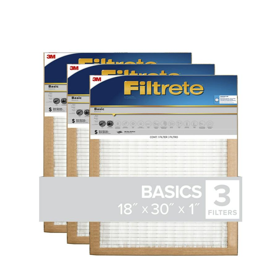 Filtrete (Common: 18-in x 30-in x 1-in; Actual: 17.7-in x 29.7-in x 0.8125-in) 3-Pack Basic Pleated Pleated Air Filters