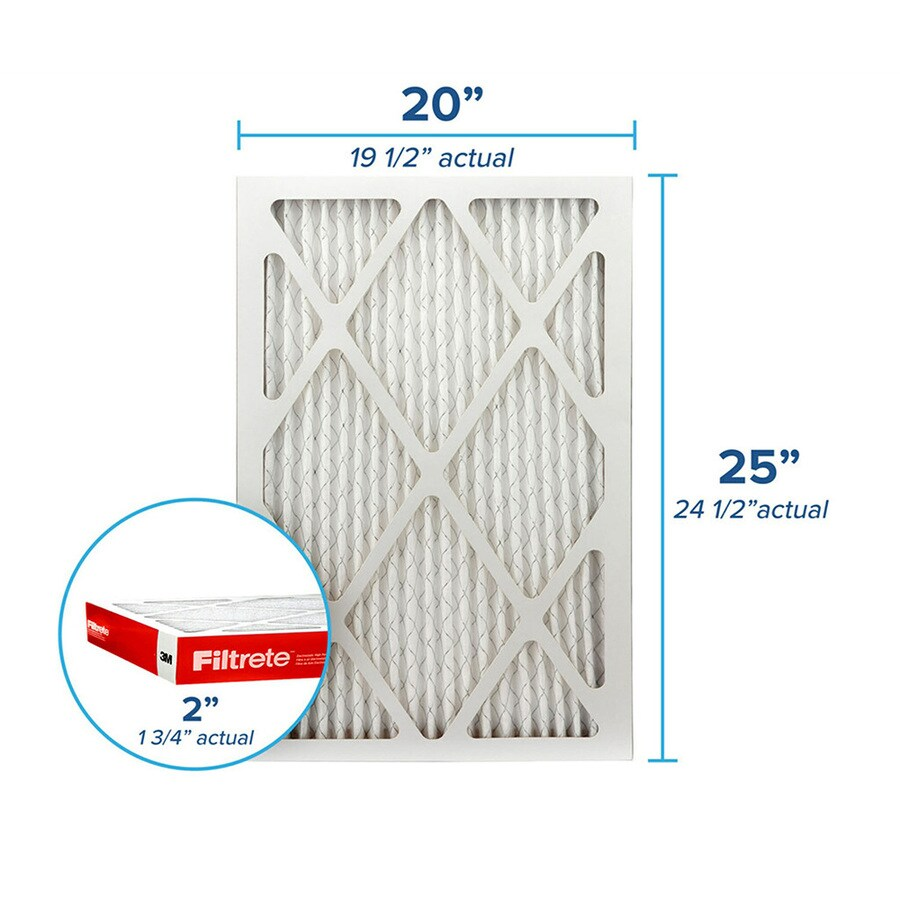Filtrete (Common: 20-in x 25-in x 2-in; Actual: 19.6-in x 24.6-in x 1.75-in) Pleated Air Filter