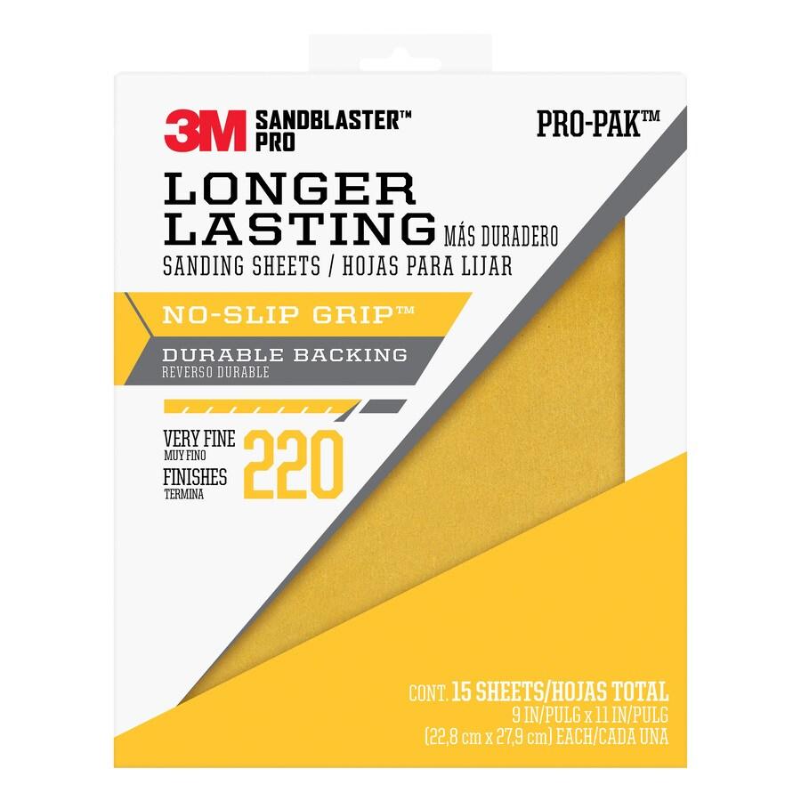 3M 15-Pack 9-in W x 11.0000-in L 220-Grit Premium Paper Sandpaper