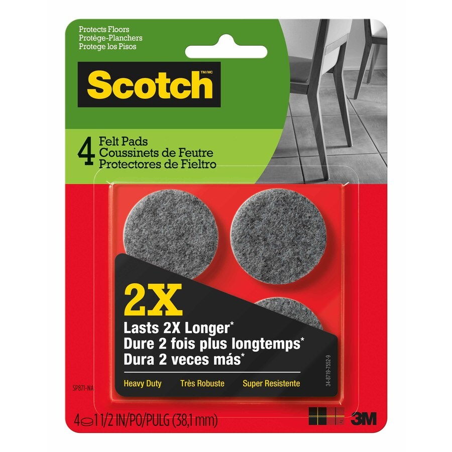 Scotch 4-Pack 1.5-in Gray Round Felt Pads