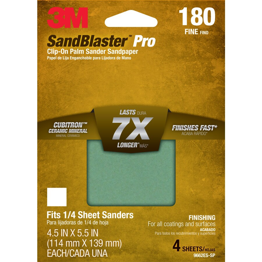 3M 4-Pack 4.5-in W x 5.5-in L 180-Grit Commercial Sandpaper Sheets