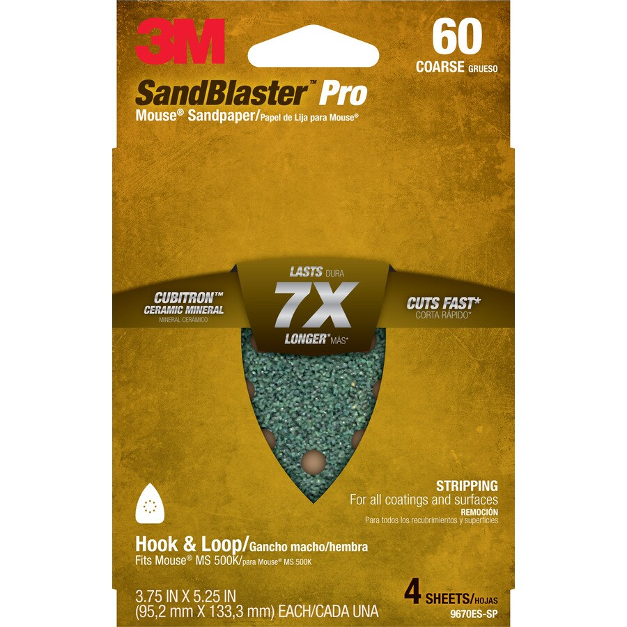 3M 4-Pack 3.75-in W x 5.25-in L 60-Grit Commercial Sandpaper Sheets