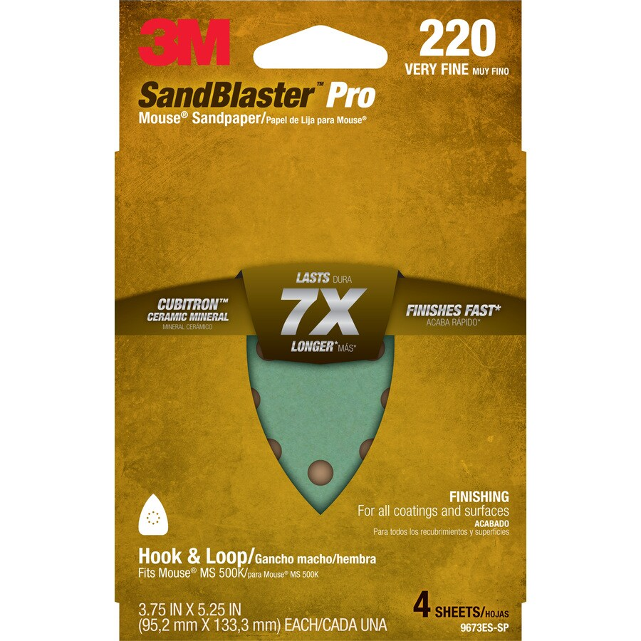 3M 4-Pack 3.75-in W x 5.25-in L 220-Grit Commercial Sandpaper Sheets