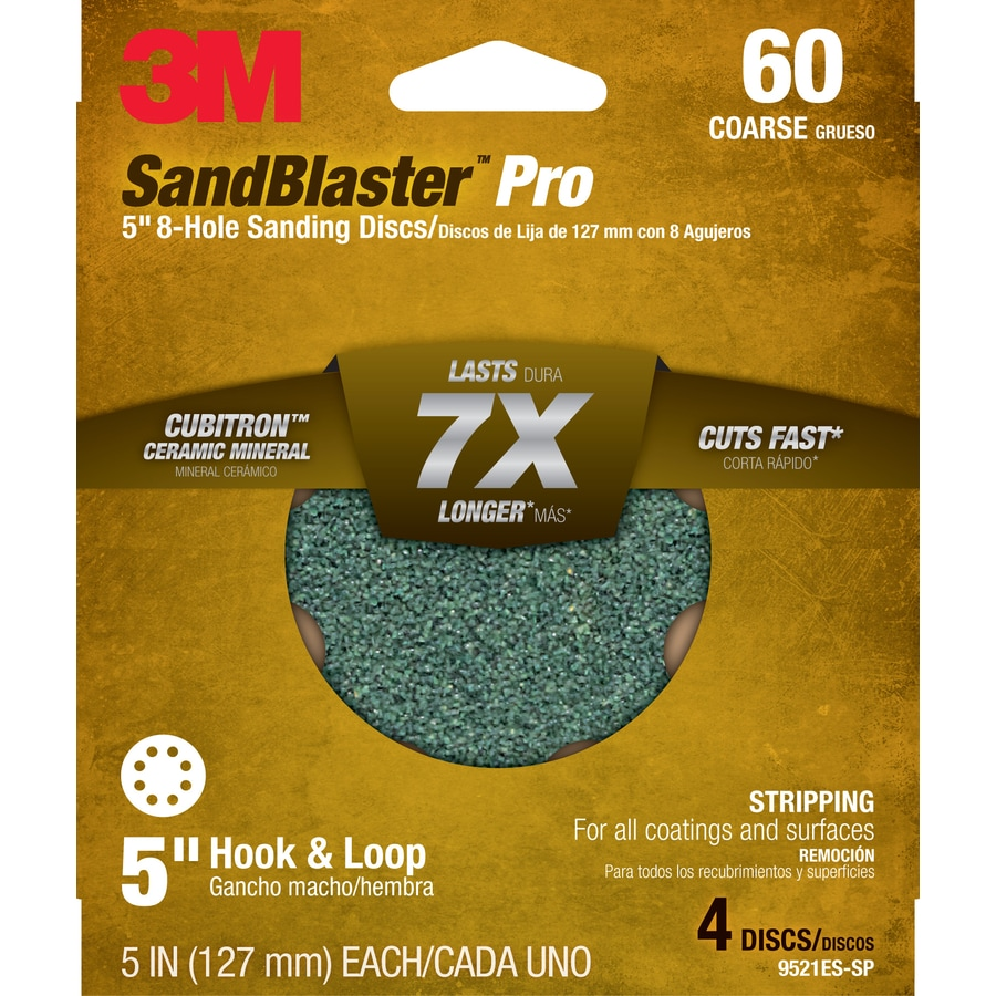 3M 4-Pack 5-in W x 5-in L 60-Grit Commercial Discs Sandpaper