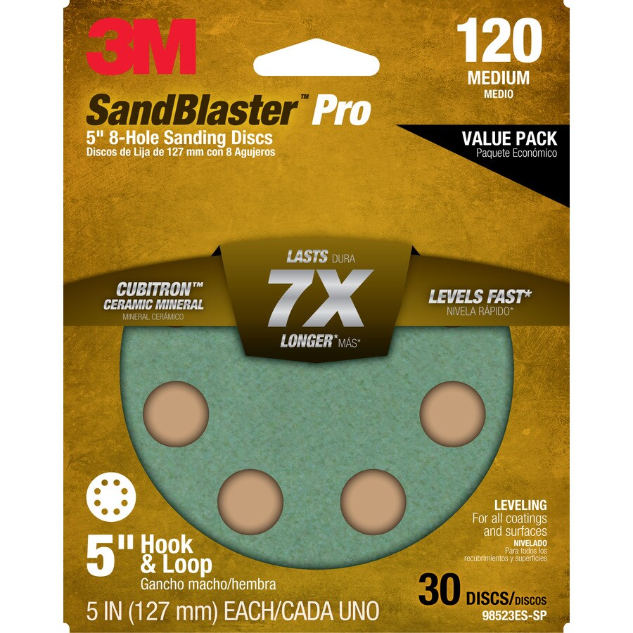 3M 30-Pack 5-in W x 5-in L 120-Grit Commercial Discs Sandpaper