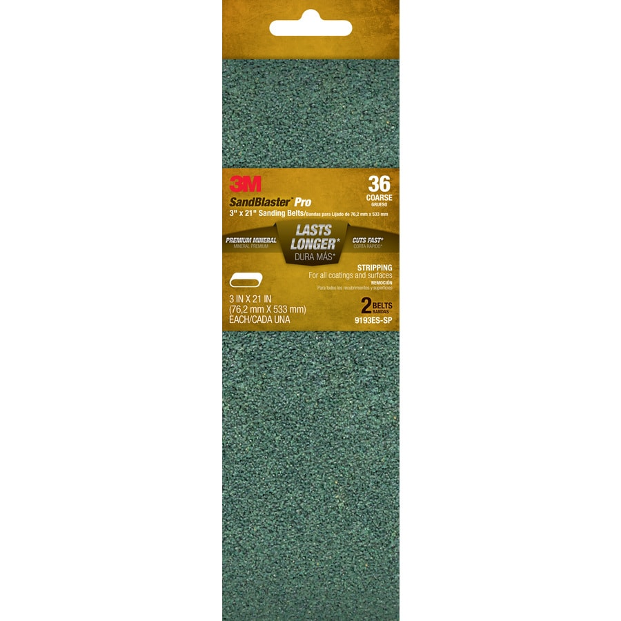3M 2-Pack 3-in W x 21-in L 36-Grit Commercial Belts Sandpaper