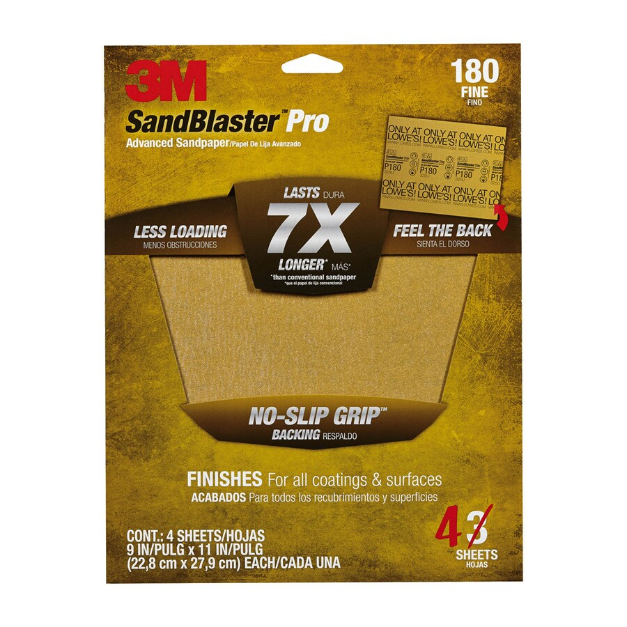 3M 4-Pack 9-in W x 11-in L 180-Grit Commercial Sandpaper Sheets