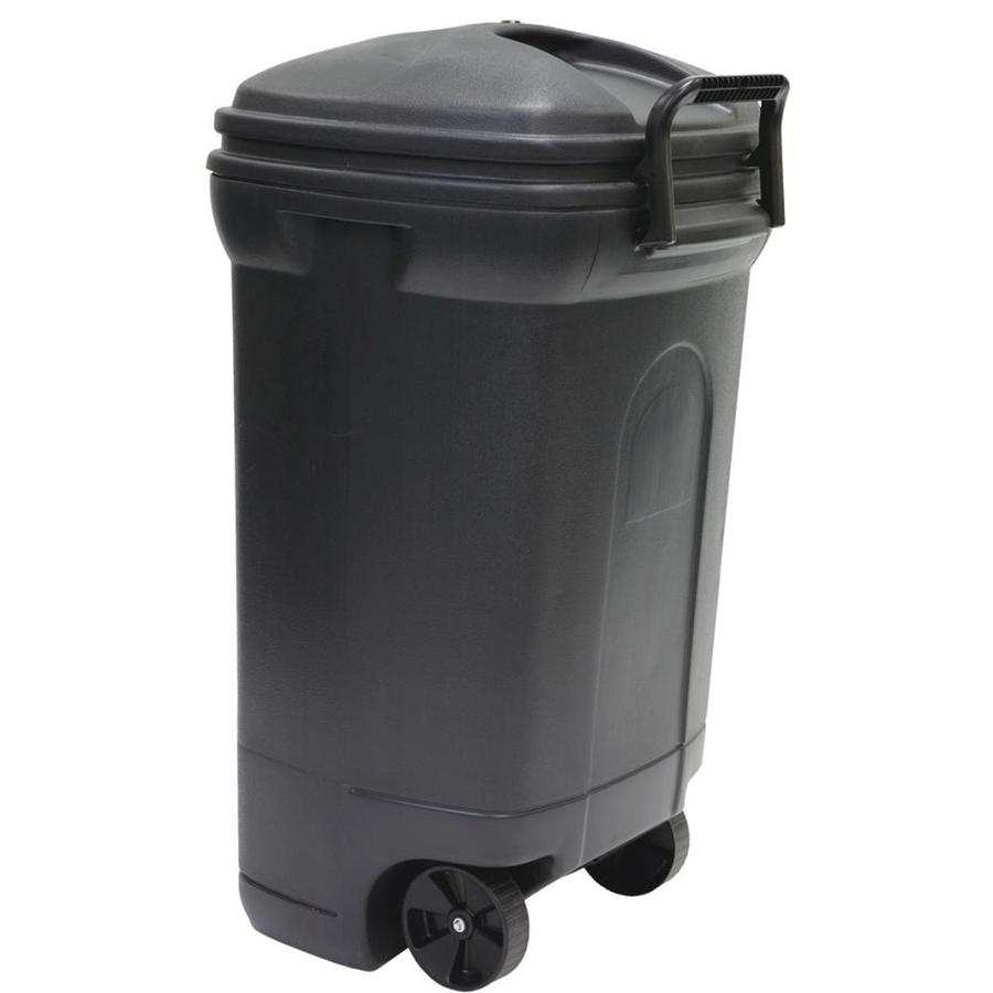 Blue Hawk 35-Gallon Black Plastic Outdoor Wheeled Trash Can with Lid