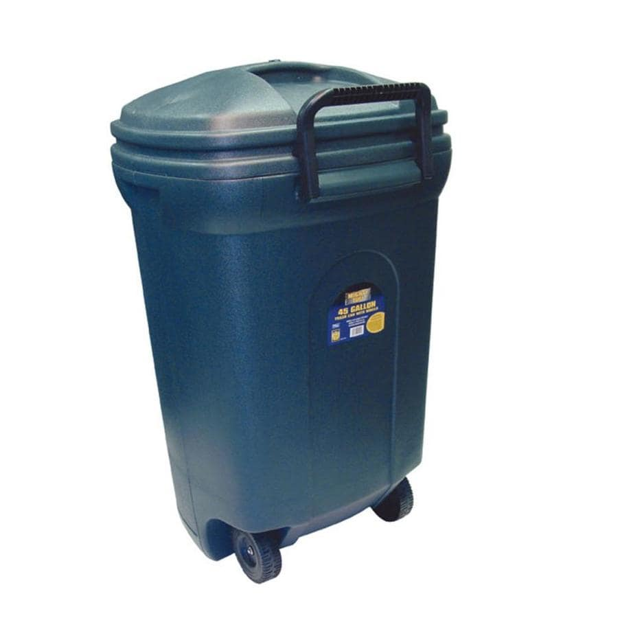 Blue Hawk 45-Gallon Black Plastic Outdoor Wheeled Trash Can with Lid