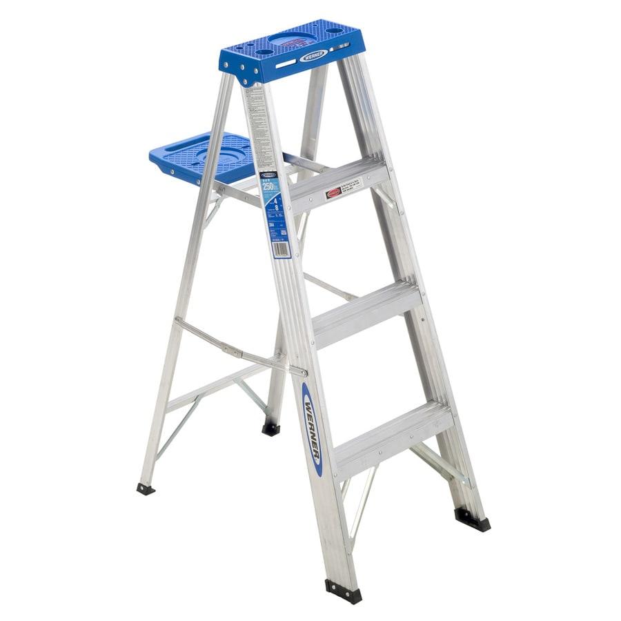 Shop Werner 4 Ft Aluminum 250 Lb Type I Step Ladder At