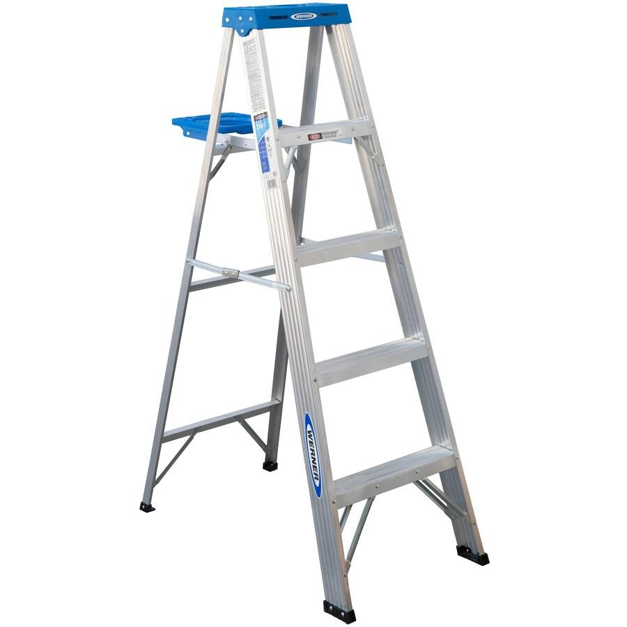 Werner 5-ft Aluminum 250-lb Type I Step Ladder