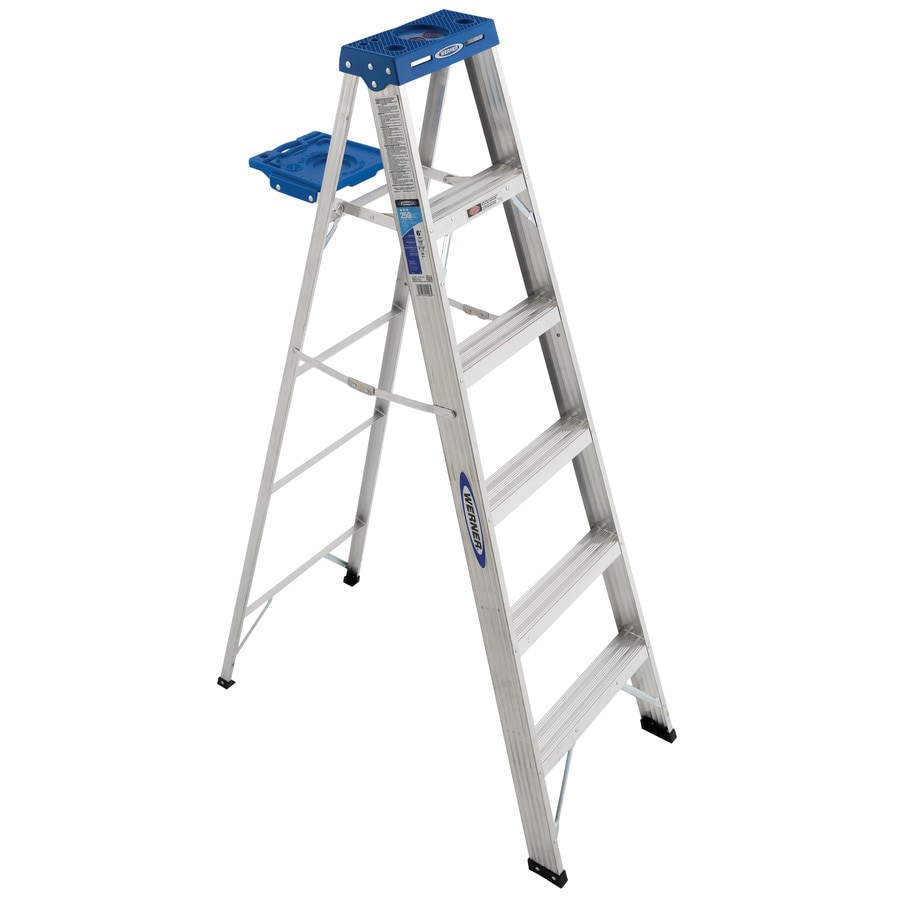 Shop Werner 6 Ft Aluminum 250 Lb Type I Step Ladder At