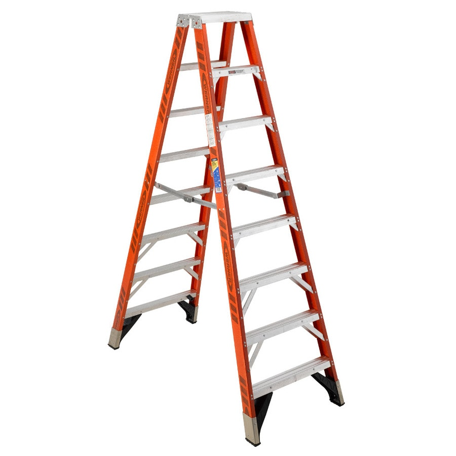 Werner 8-ft Fiberglass 375-lb Type IAA Twin-Step Ladder