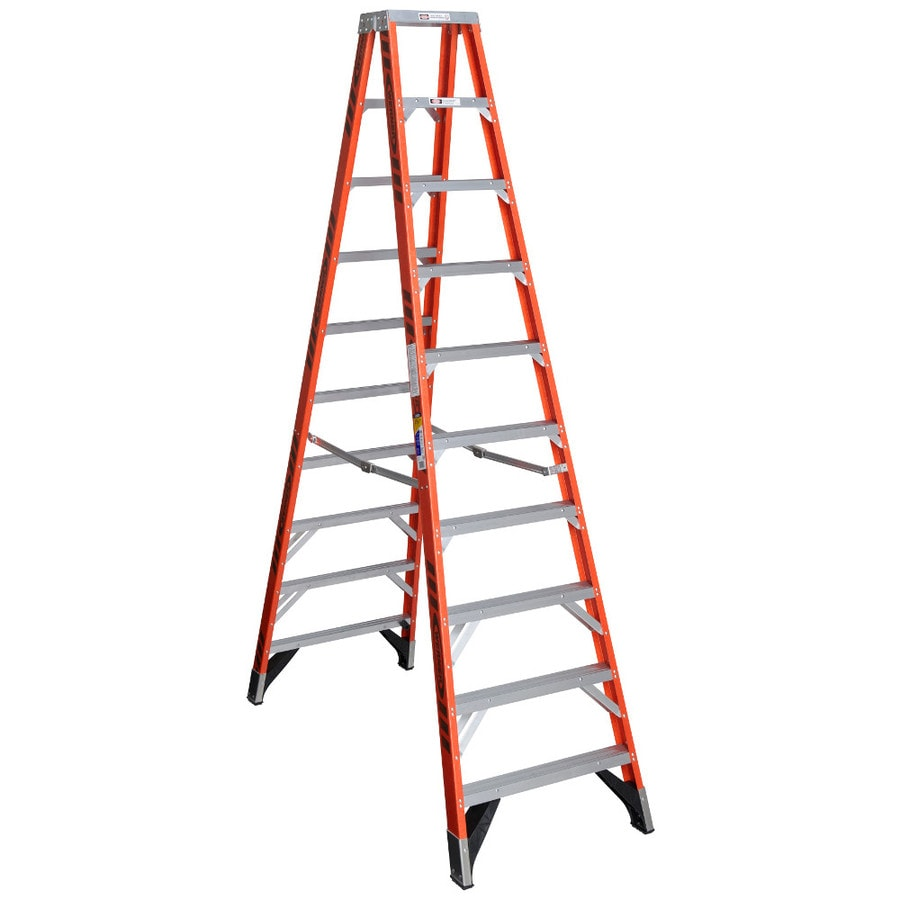 Werner 10-ft Fiberglass 375-lb Type IAA Twin-Step Ladder