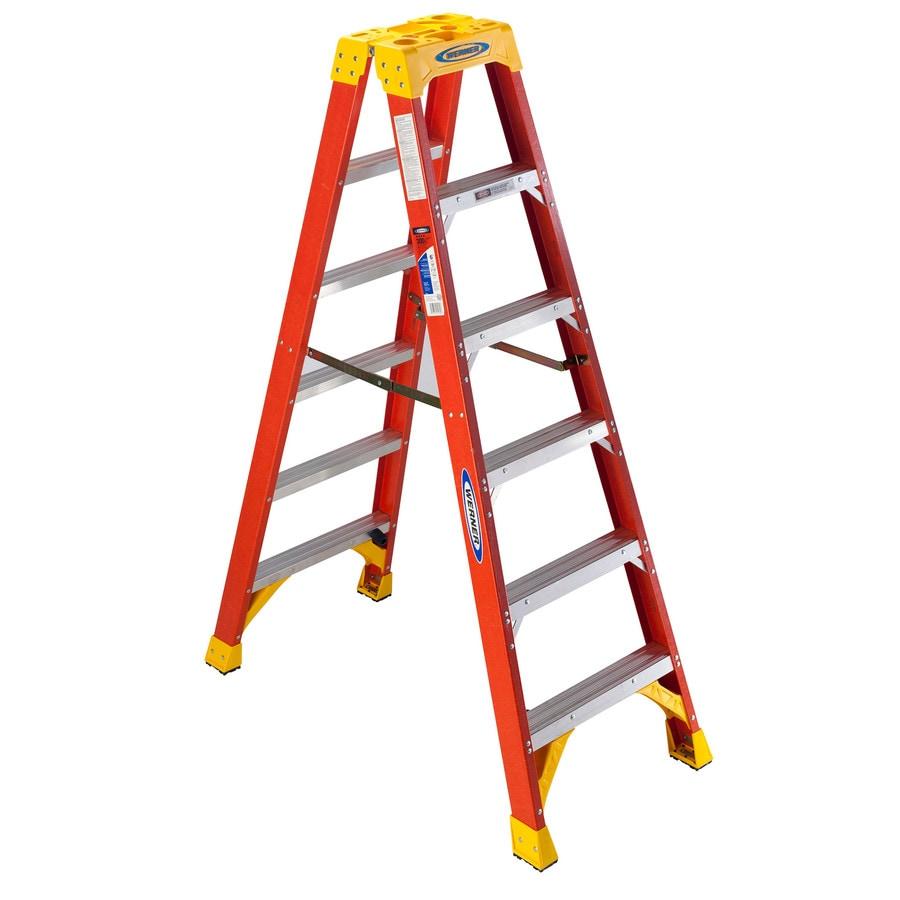Werner 6-ft Fiberglass 300-lb Type IA Twin-Step Ladder