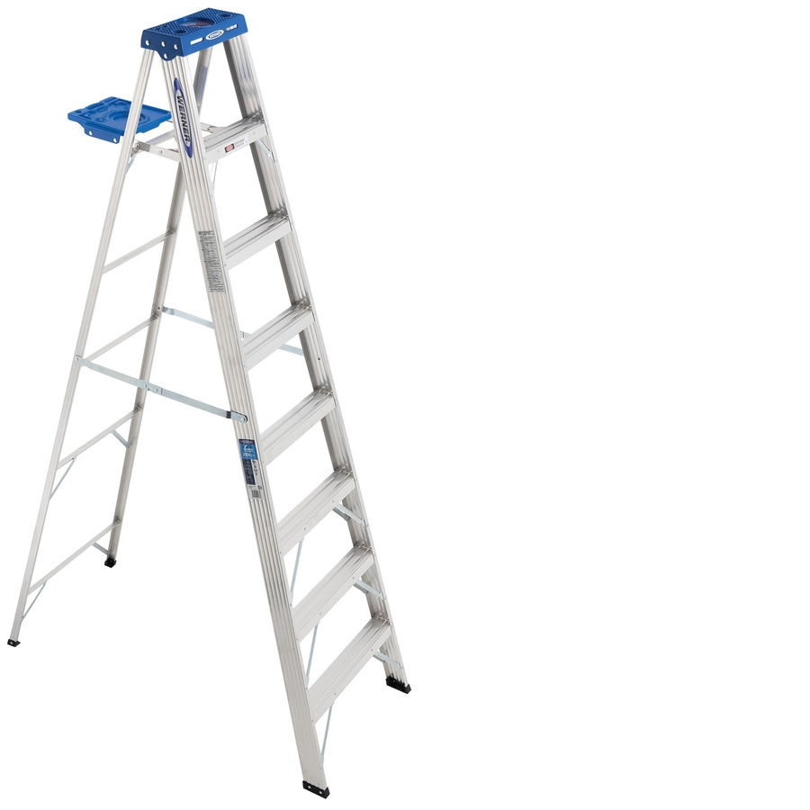 Shop Werner 8 Ft Aluminum 250 Lb Type I Step Ladder At