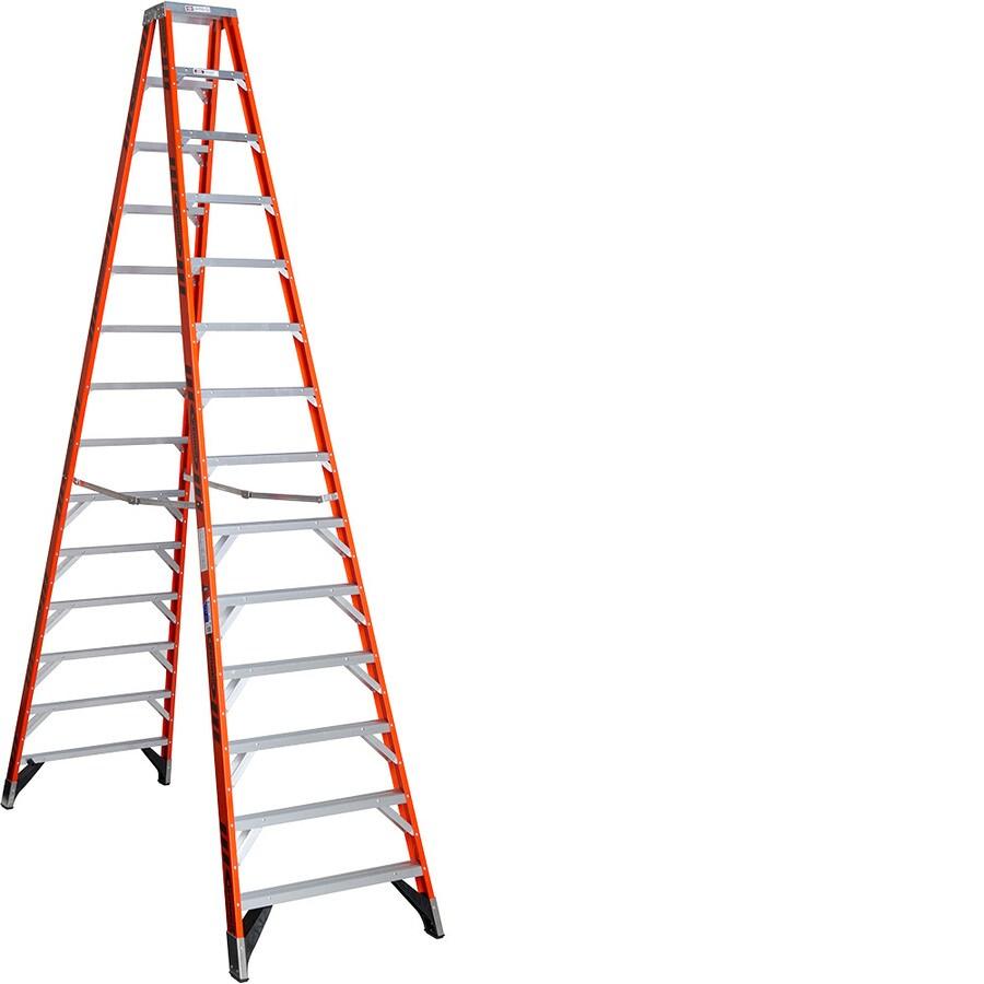 Werner 14-ft Fiberglass 300-lb Type IA Twin-Step Ladder