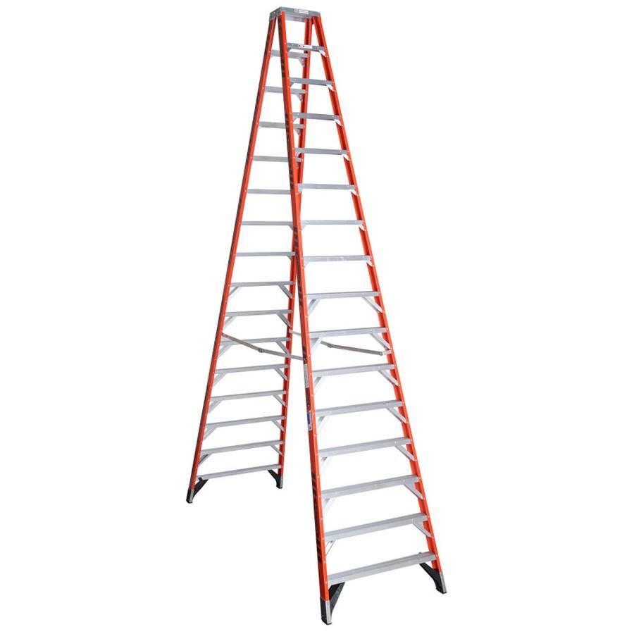 Werner 16-ft Fiberglass 300-lb Type IA Twin-Step Ladder