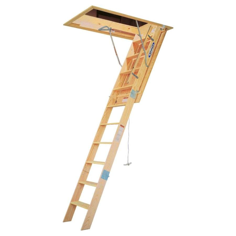 Shop Werner 8.75-ft to 10.25-ft Type IAA Wood Attic Ladder ...