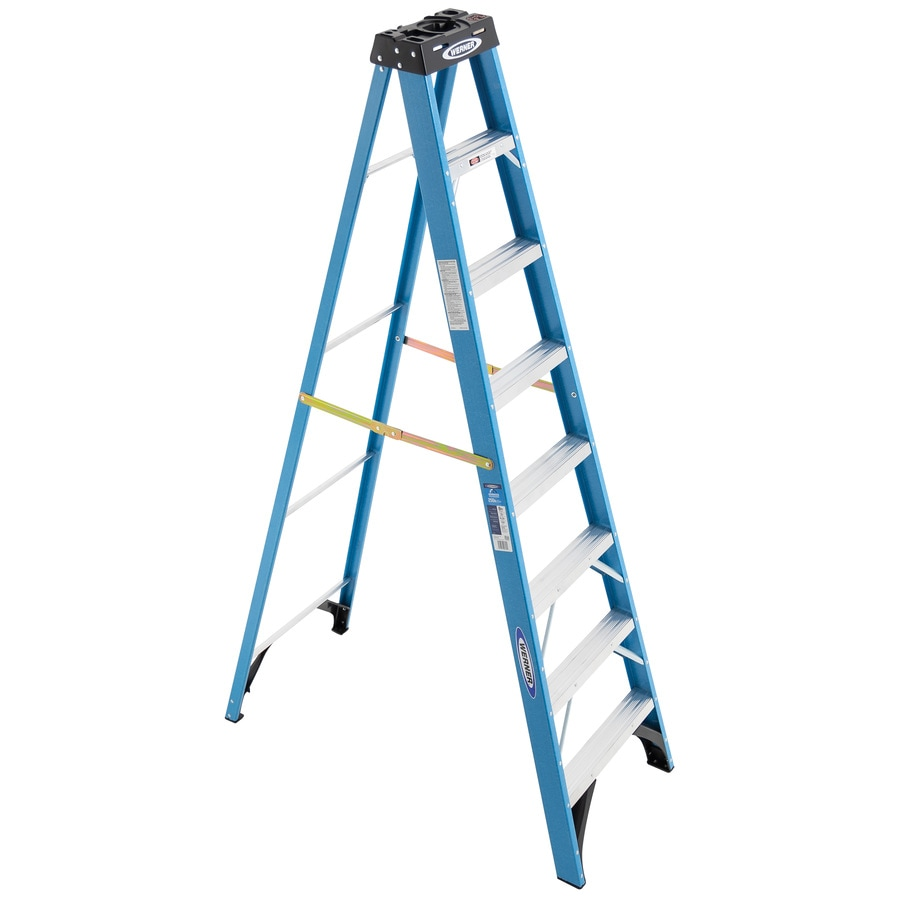 Werner 8-ft Fiberglass 250-lb Type I Step Ladder