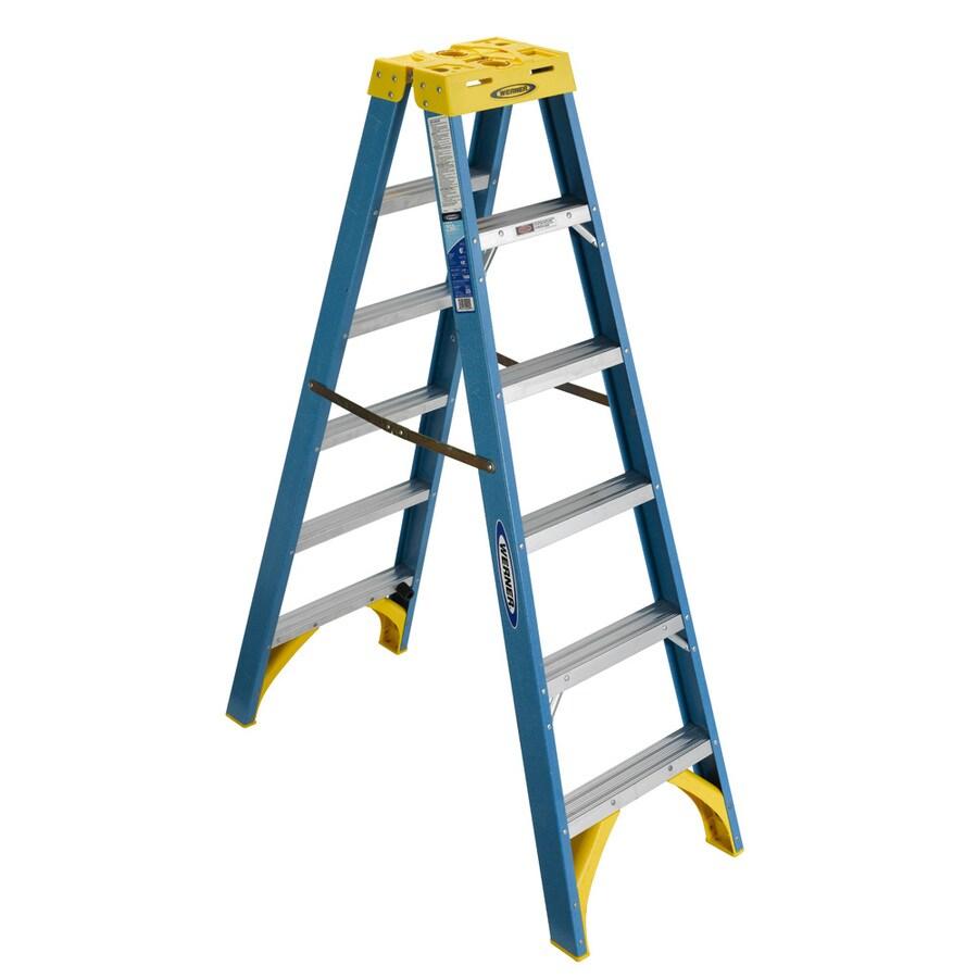 Werner 6-ft Fiberglass 250-lb Type I Twin-Step Ladder