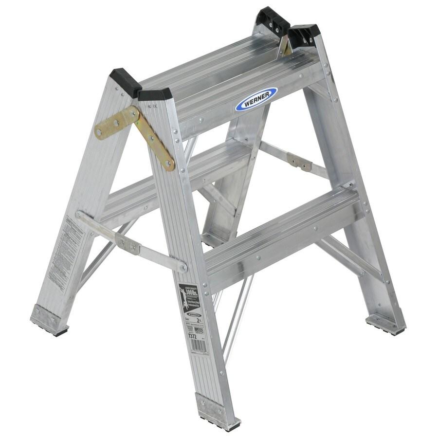 Werner 2-ft Aluminum 300-lb Type I Twin-Step Ladder