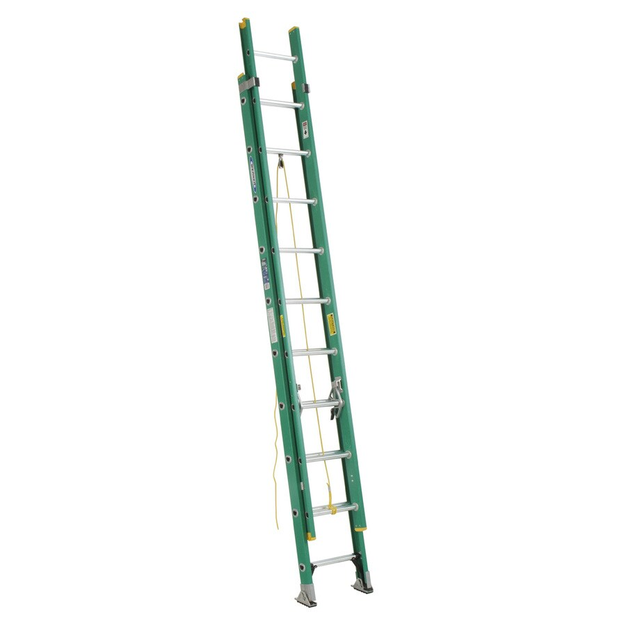 Werner 20-ft Fiberglass 225-lb Type II Extension Ladder